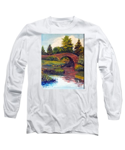Long Sleeve T-Shirt featuring the painting Old Red Stone Bridge by Jim Phillips