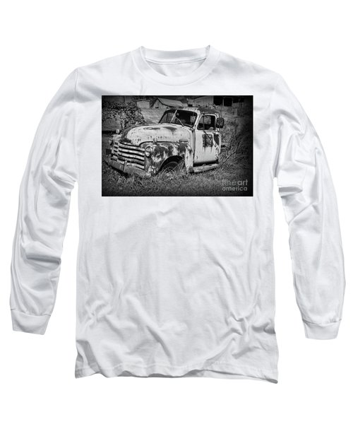 Old Rusty Chevy In Black And White Long Sleeve T-Shirt by Paul Ward