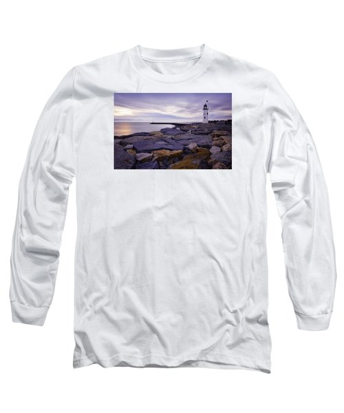 Old Scituate Light At Sunrise Long Sleeve T-Shirt by Betty Denise