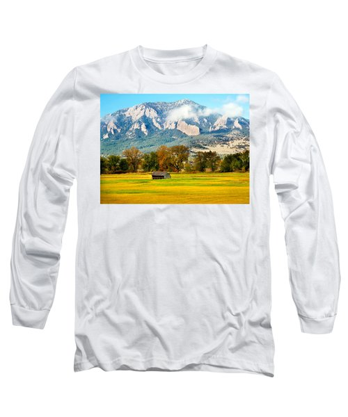 old shed against Flatirons Long Sleeve T-Shirt