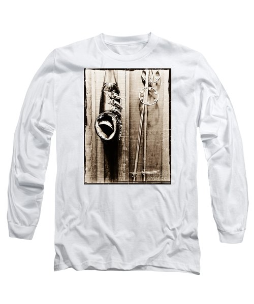 Old Ski Boot And Pole Long Sleeve T-Shirt by Amy Fearn