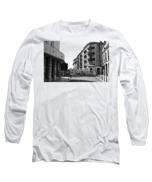 Long Sleeve T-Shirt featuring the photograph Old Town Neighborhood In The Black And White Of Blight by Lorraine Devon Wilke