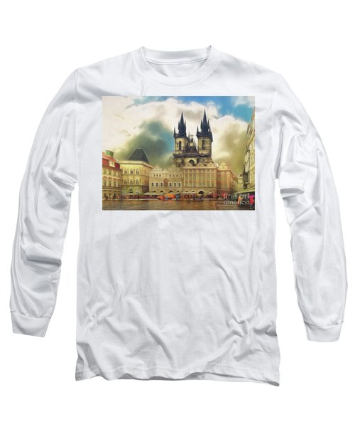 Long Sleeve T-Shirt featuring the photograph Old Town Square Prague In The Rain by Leigh Kemp