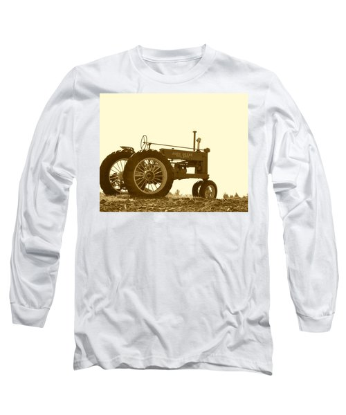 Old Tractor IIi In Sepia Long Sleeve T-Shirt by JD Grimes