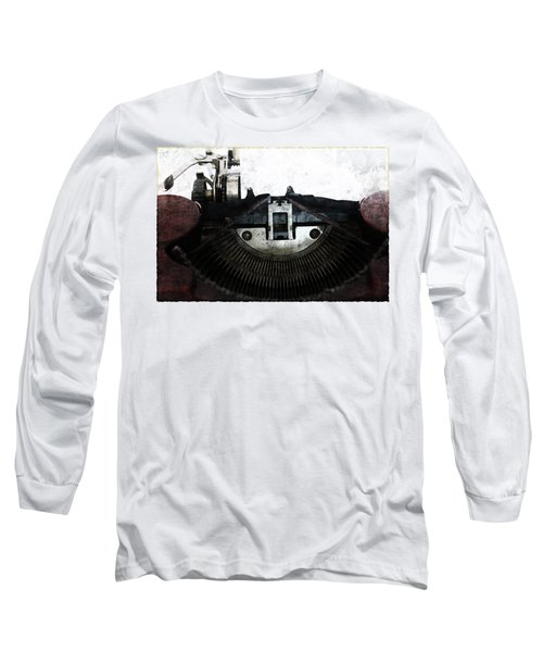 Old Typewriter Machine In Grunge Style Long Sleeve T-Shirt by Michal Boubin