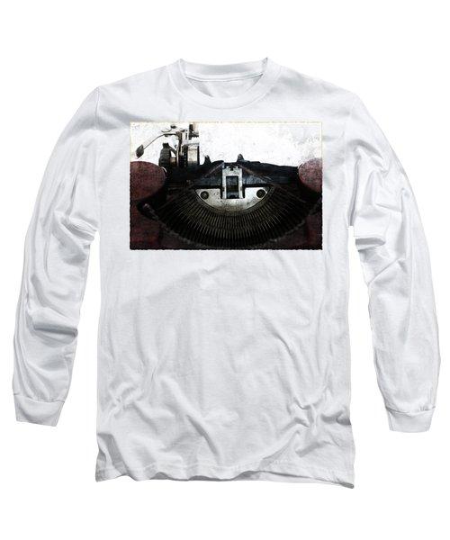 Old Typewriter Machine In Grunge Style Long Sleeve T-Shirt