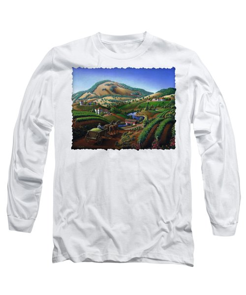 Old Wine Country Landscape - Delivering Grapes To Winery - Vintage Americana Long Sleeve T-Shirt
