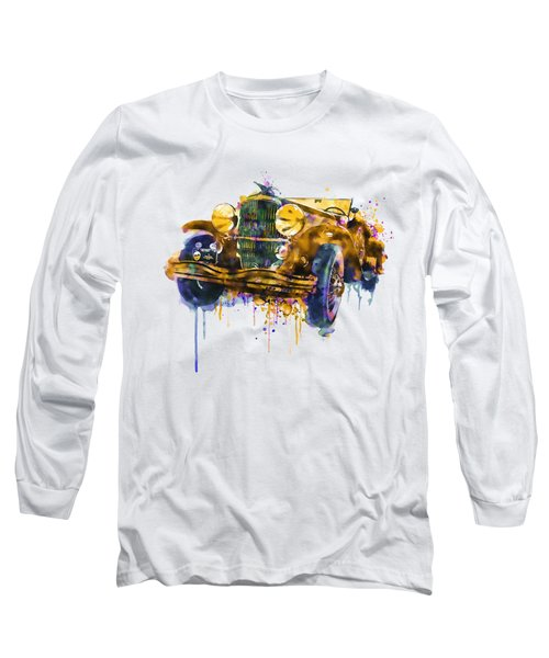 Oldtimer Automobile In Watercolor Long Sleeve T-Shirt