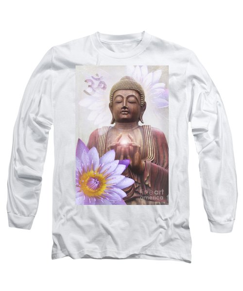 Om Mani Padme Hum - Buddha Lotus Long Sleeve T-Shirt