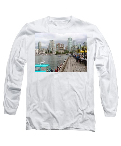 Long Sleeve T-Shirt featuring the painting On The Water At False Creek Vancouver by Rod Jellison