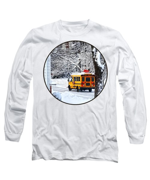 On The Way To School In Winter Long Sleeve T-Shirt by Susan Savad