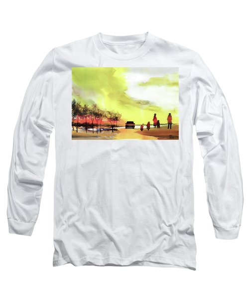 Long Sleeve T-Shirt featuring the painting On Vacation by Anil Nene