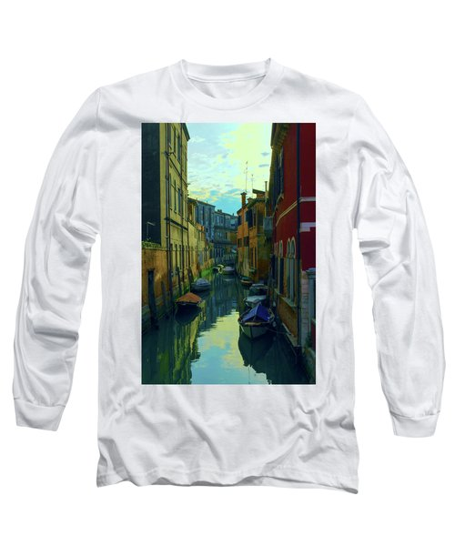 one of the many Venetian canals at the end of a Sunny summer day Long Sleeve T-Shirt