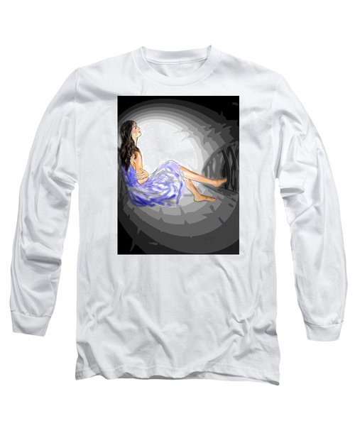 Long Sleeve T-Shirt featuring the drawing One Sided Dreams by Desline Vitto