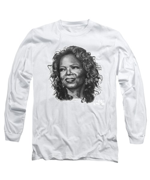 Long Sleeve T-Shirt featuring the drawing Oprah by Marianne NANA Betts