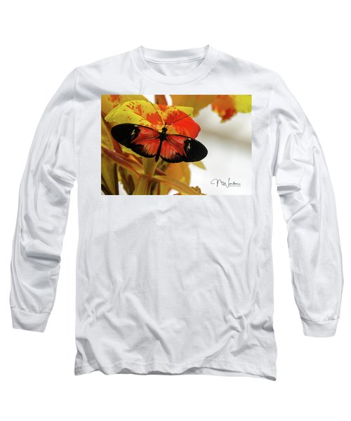 Orange And Black Butterfly Long Sleeve T-Shirt