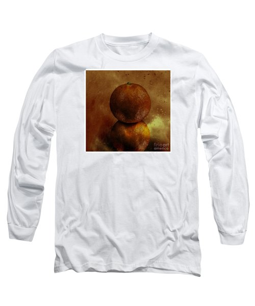 Orange Art Long Sleeve T-Shirt by Shirley Mangini