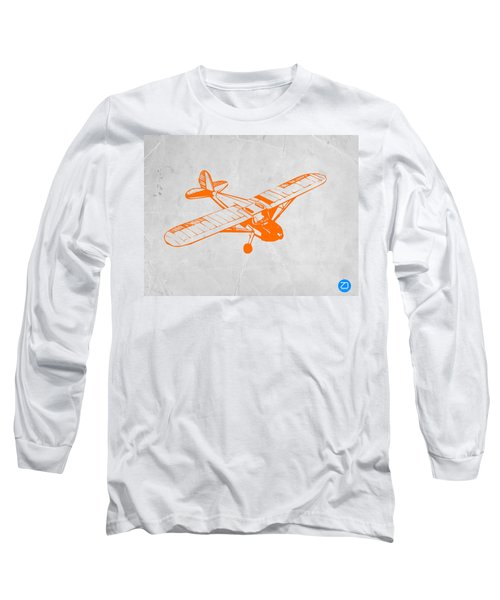 Orange Plane 2 Long Sleeve T-Shirt by Naxart Studio