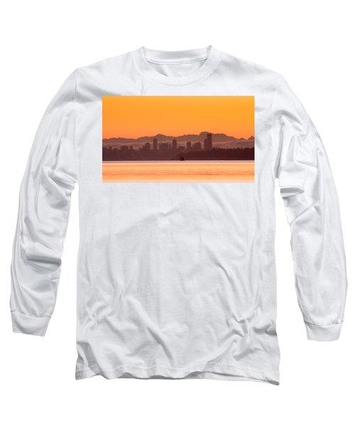 Seattle Skyline In Orange Long Sleeve T-Shirt