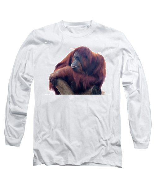 Long Sleeve T-Shirt featuring the photograph Orangutan - Color Version by Lana Trussell