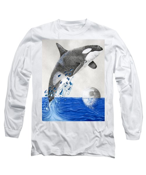 Long Sleeve T-Shirt featuring the drawing Orca by Mayhem Mediums