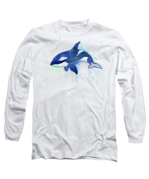 Orca Whale Watercolor Killer Whale Facing Right Long Sleeve T-Shirt