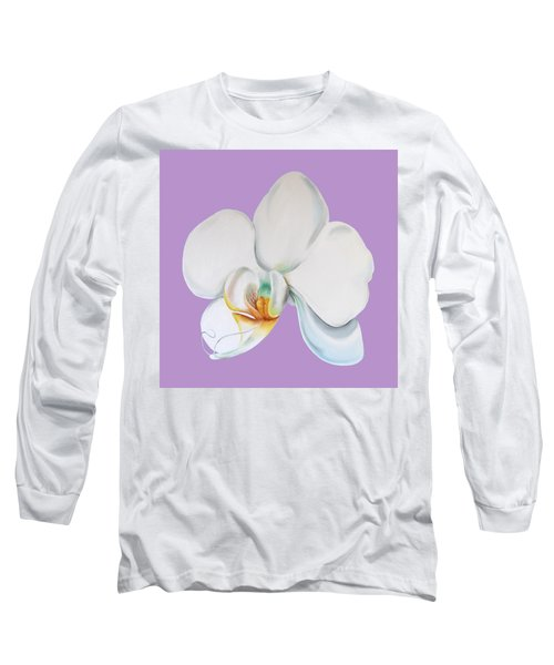 Long Sleeve T-Shirt featuring the digital art Orchid On Lilac by Elizabeth Lock