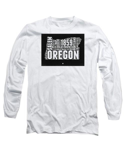 Oregon Black And White Map Long Sleeve T-Shirt by Naxart Studio