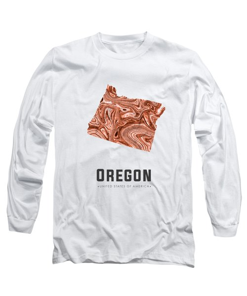 Oregon Map Art Abstract In Brown Long Sleeve T-Shirt
