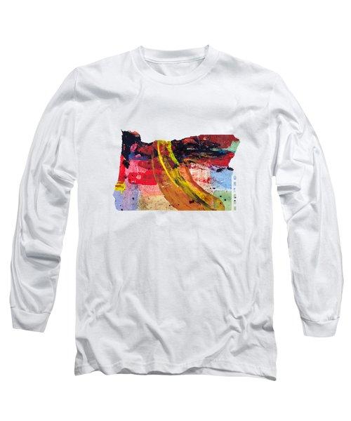 Oregon Map Art - Painted Map Of Oregon Long Sleeve T-Shirt