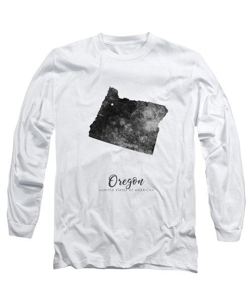 Oregon State Map Art - Grunge Silhouette Long Sleeve T-Shirt