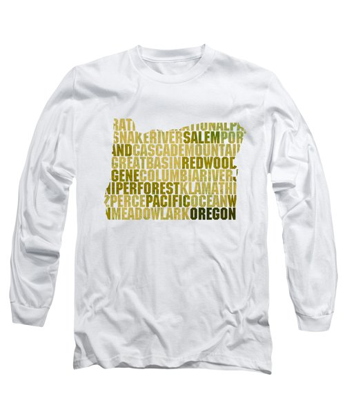 Oregon State Outline Word Map Long Sleeve T-Shirt by Design Turnpike