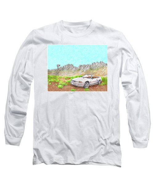 Long Sleeve T-Shirt featuring the painting Organ Mountain Mustang by Jack Pumphrey