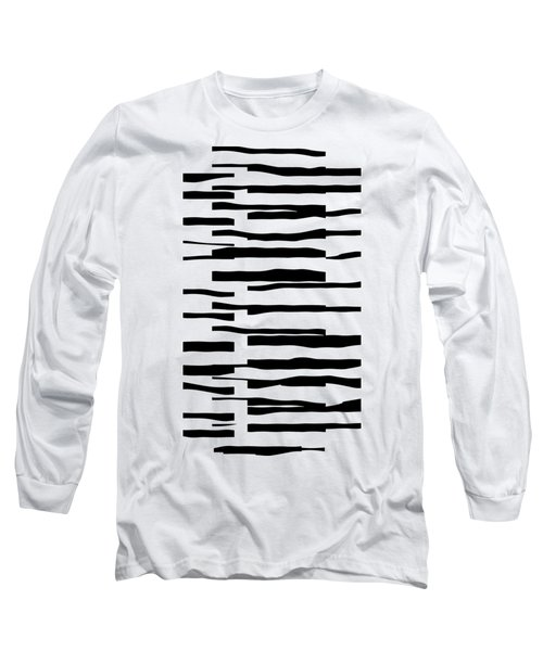 Organic No 13 Black And White Line Abstract Long Sleeve T-Shirt