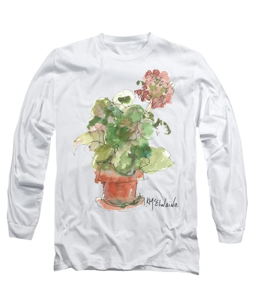 Original Buspaintings Geranium Watercolor Painting By Kathleen Mcelwaine Long Sleeve T-Shirt by Kathleen McElwaine