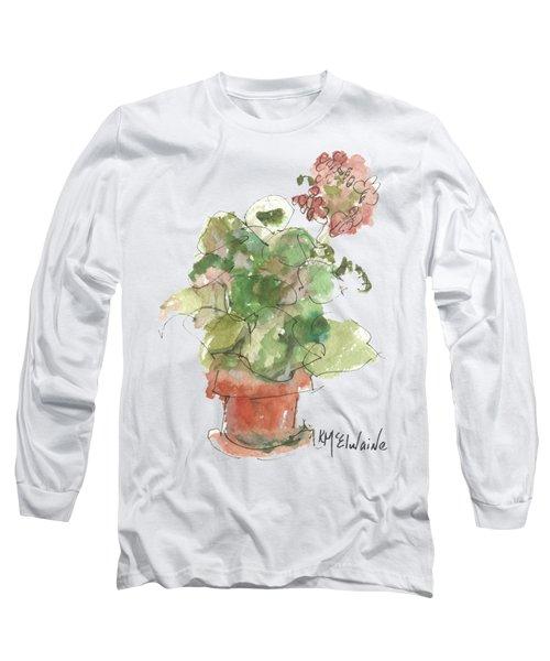 Original Buspaintings Geranium Watercolor Painting By Kathleen Mcelwaine Long Sleeve T-Shirt