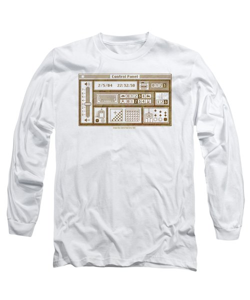 Original Mac Computer Control Panel Circa 1984 Long Sleeve T-Shirt by Design Turnpike