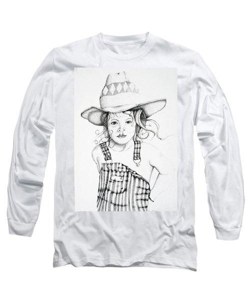 Long Sleeve T-Shirt featuring the drawing Osh Kosh by Mayhem Mediums