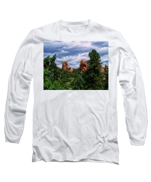 Long Sleeve T-Shirt featuring the digital art outcroppings in Colorado Springs by Chris Flees