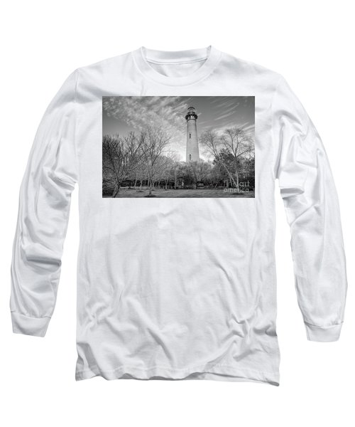 Long Sleeve T-Shirt featuring the photograph Outer Banks Winter At The Currituck Lighthouse Bw by Dan Carmichael