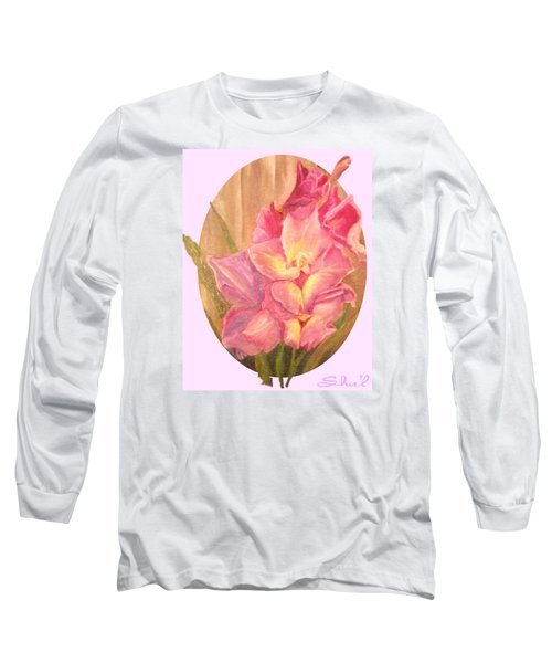 Oval Gladiolas               11x14 Long Sleeve T-Shirt by Sherril Porter