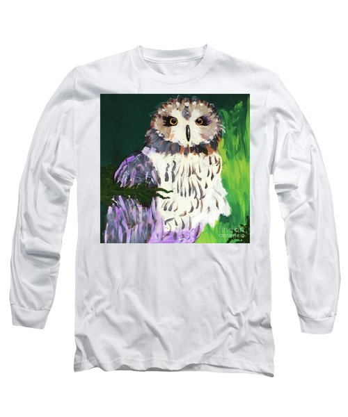 Owl Behind A Tree Long Sleeve T-Shirt