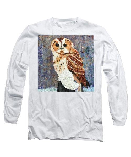 Owl On Snow Long Sleeve T-Shirt by Donald J Ryker III