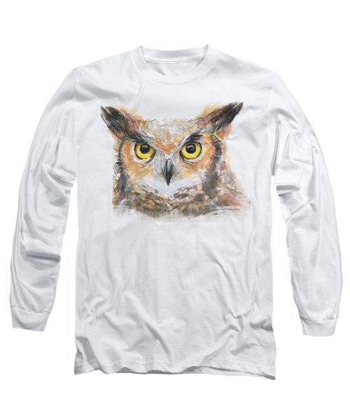 Owl Watercolor Portrait Great Horned Long Sleeve T-Shirt by Olga Shvartsur