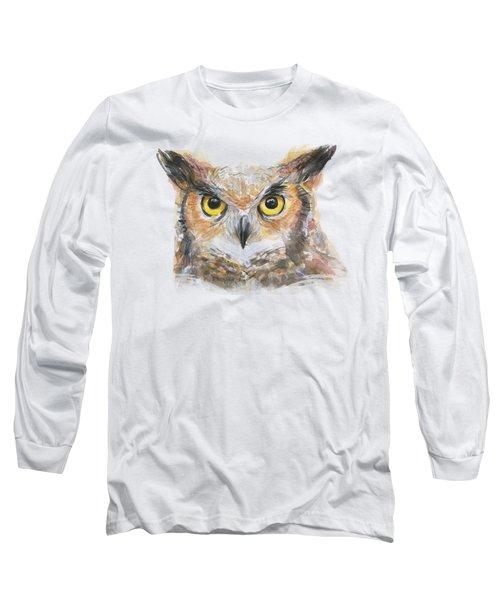 Owl Watercolor Portrait Great Horned Long Sleeve T-Shirt