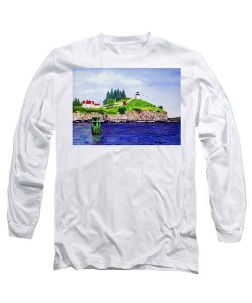 Owls Head Lighthouse Long Sleeve T-Shirt by Mike Robles