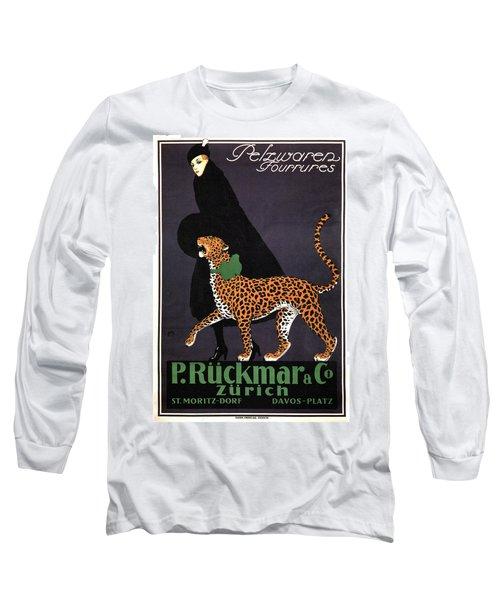 P Ruckmar And Co, Zurich - Switzerland - Lady, Cheetah, Fur Jacket - Vintage Fashion Advertisement Long Sleeve T-Shirt