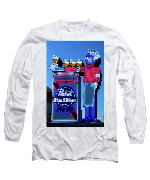 Pabst Blue Ribbon Neon Sign Fremont Street Long Sleeve T-Shirt by Aloha Art