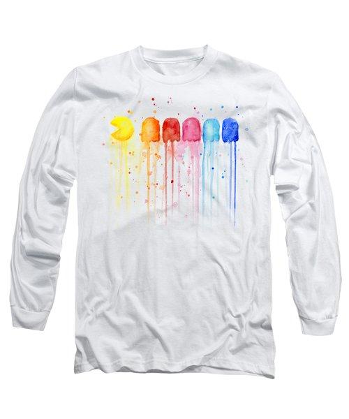 Pacman Watercolor Rainbow Long Sleeve T-Shirt