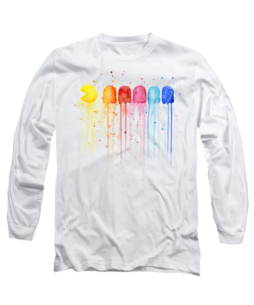 Pacman Watercolor Rainbow Long Sleeve T-Shirt